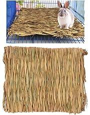 PanDaDa Herbe Hamster Lit Tapis Herbes Naturels Comestibles Tissés à la Main Jouet à Mâcher pour Hamster Lapin Hérisson Cochon d'Inde Furet (40 * 28 * 1cm)