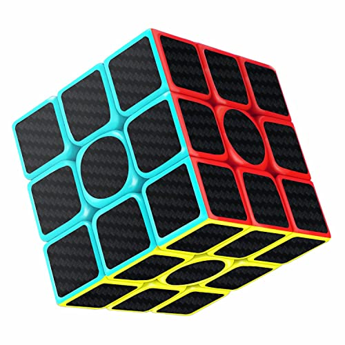 Cube, Gritin Magic Cube 3x3x3 Smooth Speed Cube 3D Puzzles Cube With Vivid Color Carbon Fiber Surface - Ultra Durable and Flexible Easy Turning for Brain Training Game or Holiday Christmas Gift