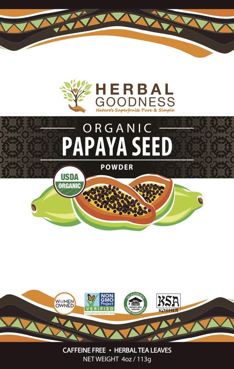 Papaya Seed Powder - 100% Pure USDA Organic - Non-GMO Verified - Kosher - Digestive Enzyme Plus - Super-Fruit for Gentle Detox - Gut & Liver Cleanse - Eliminate Parasite - by Herbal Goodness - 4oz by Herbal Papaya