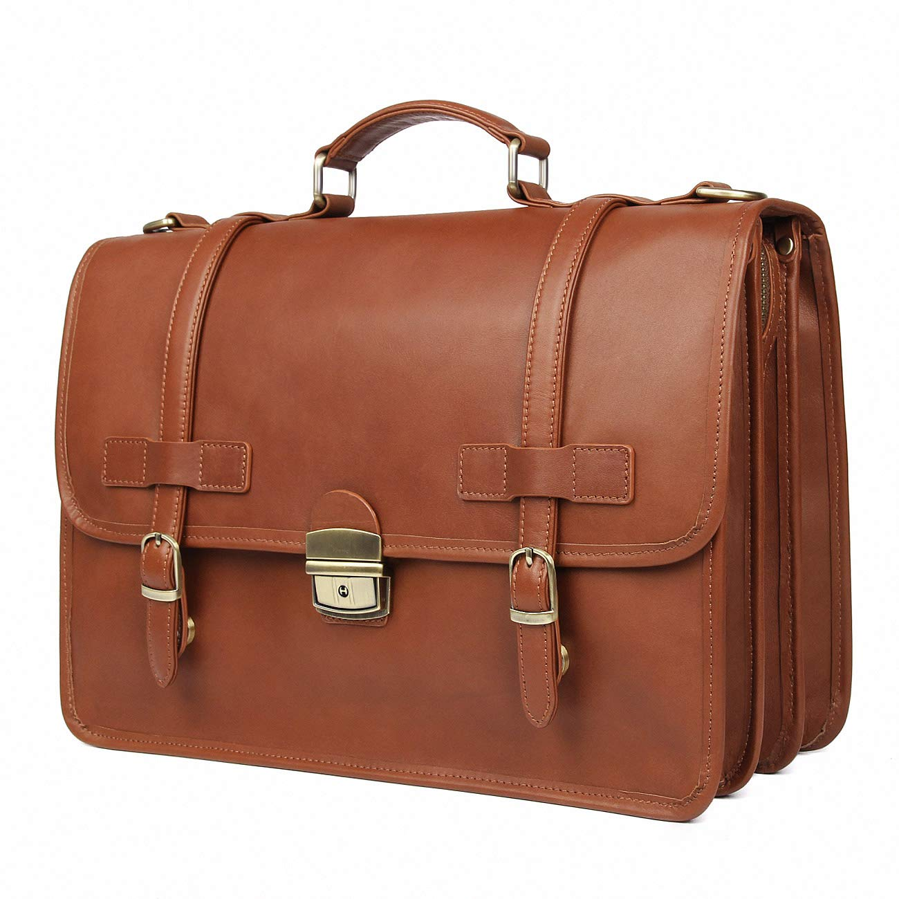 Augus Genuine Leather Briefcase Messenger for Men Business Travel Duffle Laptop Flapover Bag Fit 14 inch Laptop(Brown-1)