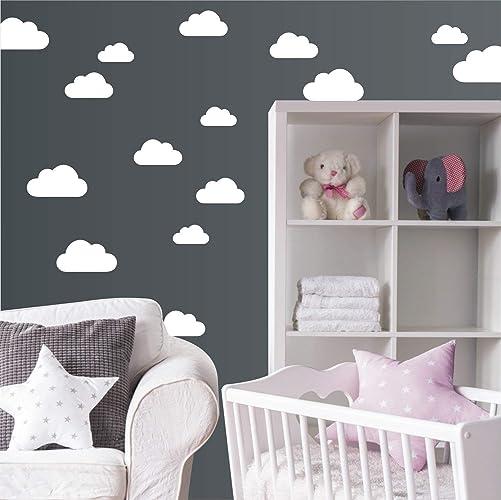 Wanddeko Kinderzimmer | Wandaufkleber Set Mit 20 Wolken Wandtattoo Wandsticker Sticker
