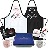 rnairni Mr & Mrs Right Happy Couple Mug Aprons, Best Valentine's Day Gifts | Bronzing Gift Box - Apron, Gloves, Mats, Cups, G