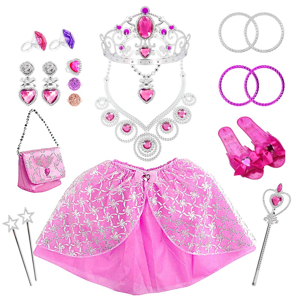 Tagitary 21 Pack Princess Pretend Jewelry Girl's Toys, Girl's Jewelry Dress Up Play Set,Birthday Party Supplies Included Crowns,Necklaces,Wands,Rings,Earrings,Skirt by Tagitary