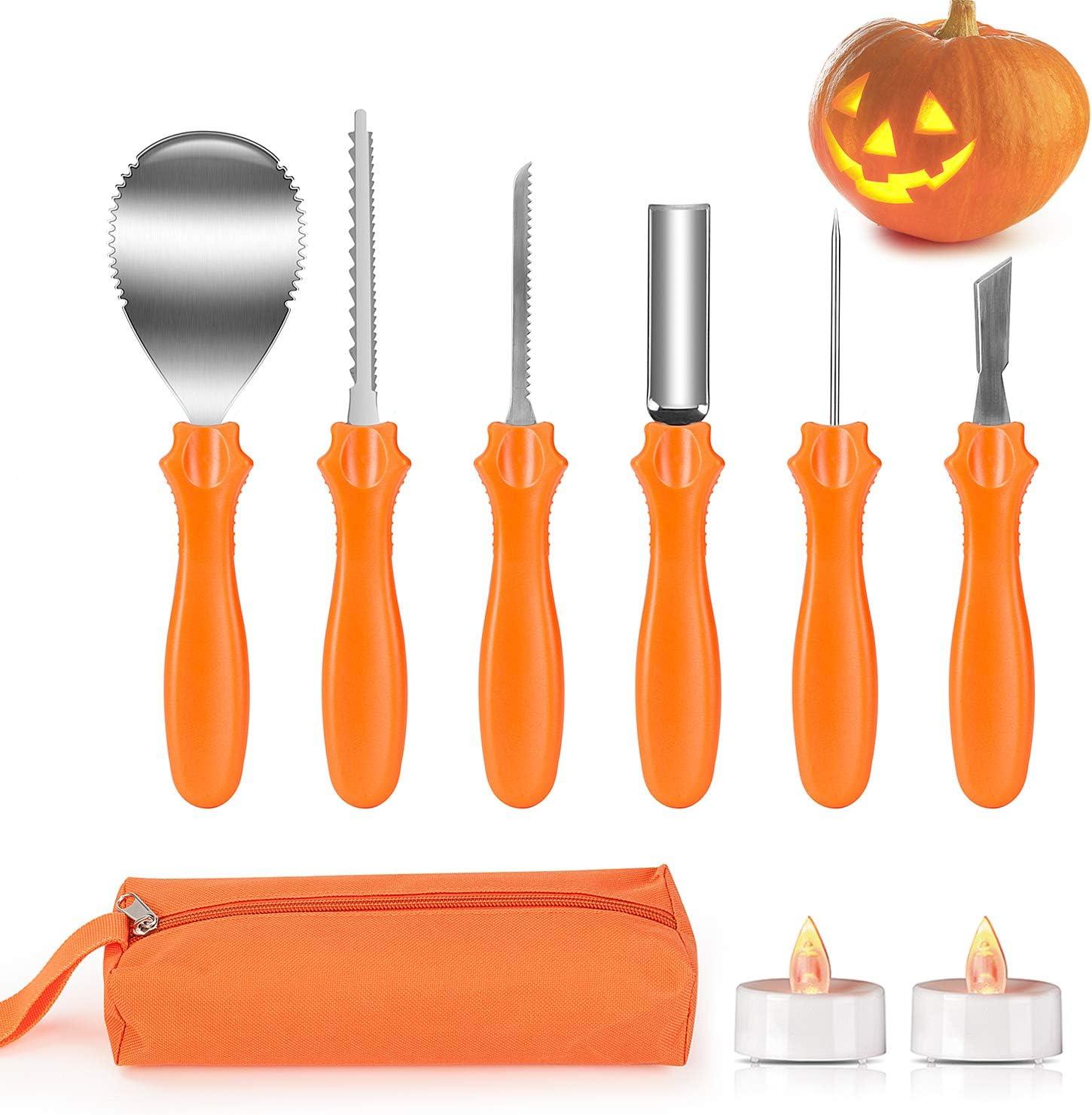 Joyjoz Calabazas Decoración, Herramientas de Talla de Calabaza, Pumpkin Carving Kit Acero Inoxidable Calabaza Talla Kit, Plantillas de Talla Decoración de Halloween