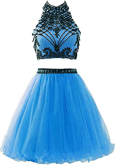 Fanciest Womens Beaded Two Pieces Short Homecoming Dresses 2017 Prom Gowns Blue US2