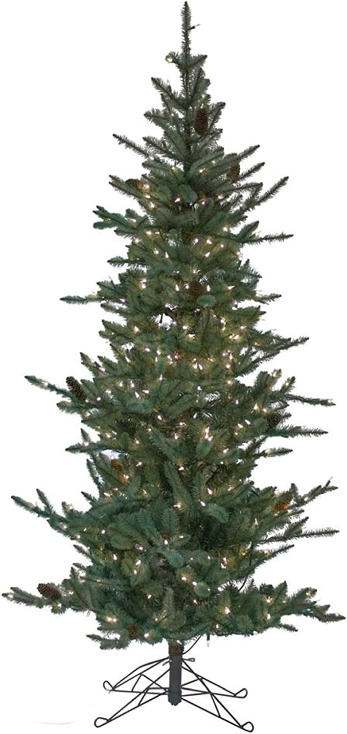 Amazon Com Diva At Home 7 X 44 Pre Lit Slim Pine Artificial Christmas Tree Warm White Lights Home Kitchen