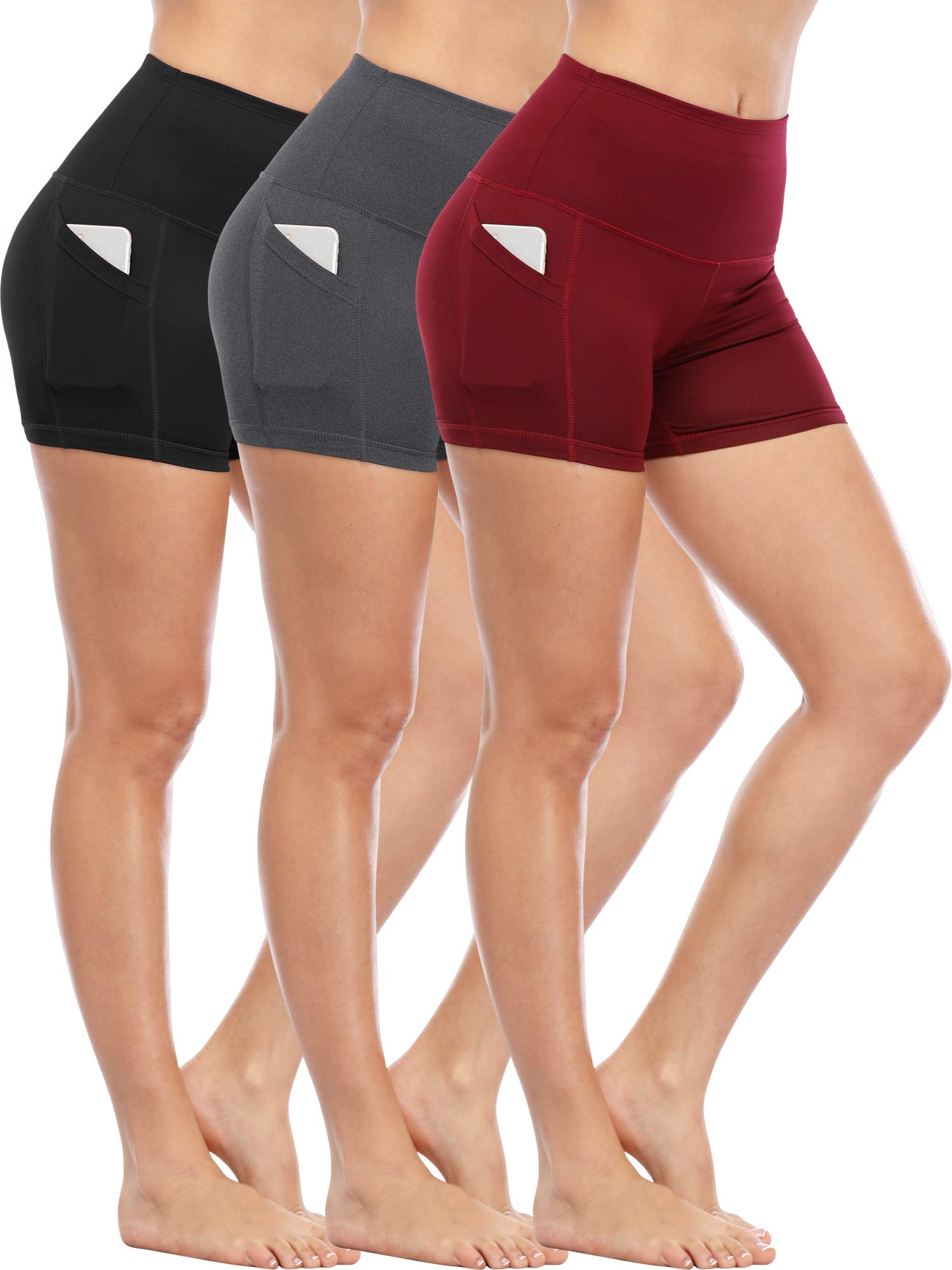 Cadmus Women's Tummy Control Workout Running Short Out Pocket,3 Pack,1016,Black & Grey & Wine Red,Small by Cadmus