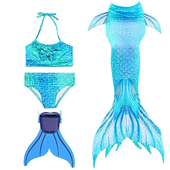 2751ceddf5 Modaka Mermaid Tail Swimsuit for Girls 4PCS Set for Swimming with Monofin  for Beach Holiday,Cosplay,etc.: Amazon.co.uk: Clothing