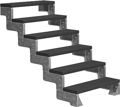 Dolle - Escalera para exteriores con 6 peldaños (altura de planta: 108-132 cm, reposapiés Trimax® de 100 cm, sin barandilla), color antracita: Amazon.es: Bricolaje y herramientas