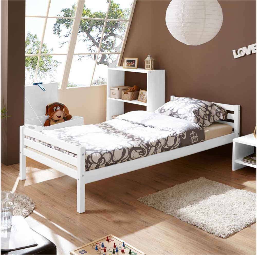Pharao24 Massivholz Einzelbett Einzelbett Einzelbett in Weiß Bettkasten Bettkasten Nein 06b556