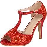 Bella Marie Shania-11 Women's Peep Toe Rhinestone Glitter T- Strap Dance Sandals