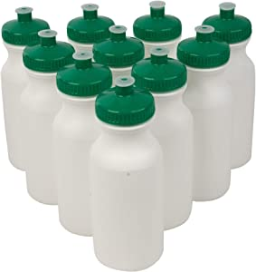 CSBD 20oz Sports Water Bottles, 10 Pack, Reusable No BPA Plastic, Pull Top Leakproof Drink Spout, Blank DIY Customization for Business Branding, Fundraises, or Fitness White Bottle Green Lids
