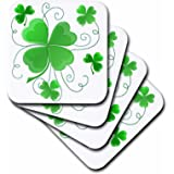 Dream Essence Designs is of Some Lucky Shamrocks Just in Time Coaster, Soft, Set of 4