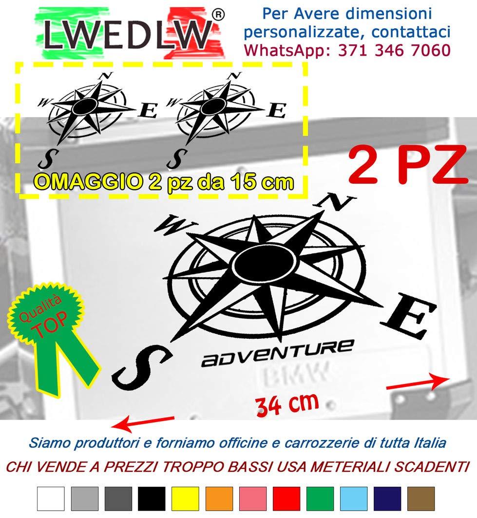 2 Adesivi Stickers Rosa dei Venti SCRIVICI IL COLORE DOPO LACQUISTO valigie adventure