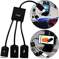 Cabo Tipo C Otg Hub com 2 Entradas Usb e 1 Micro Usb Carregadora de Celular Tablet para Pendrive Teclado e Mouse