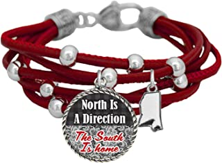 product image for Mississippi North is a Direction South is Home Red Leather Bracelet Southern Jewelry