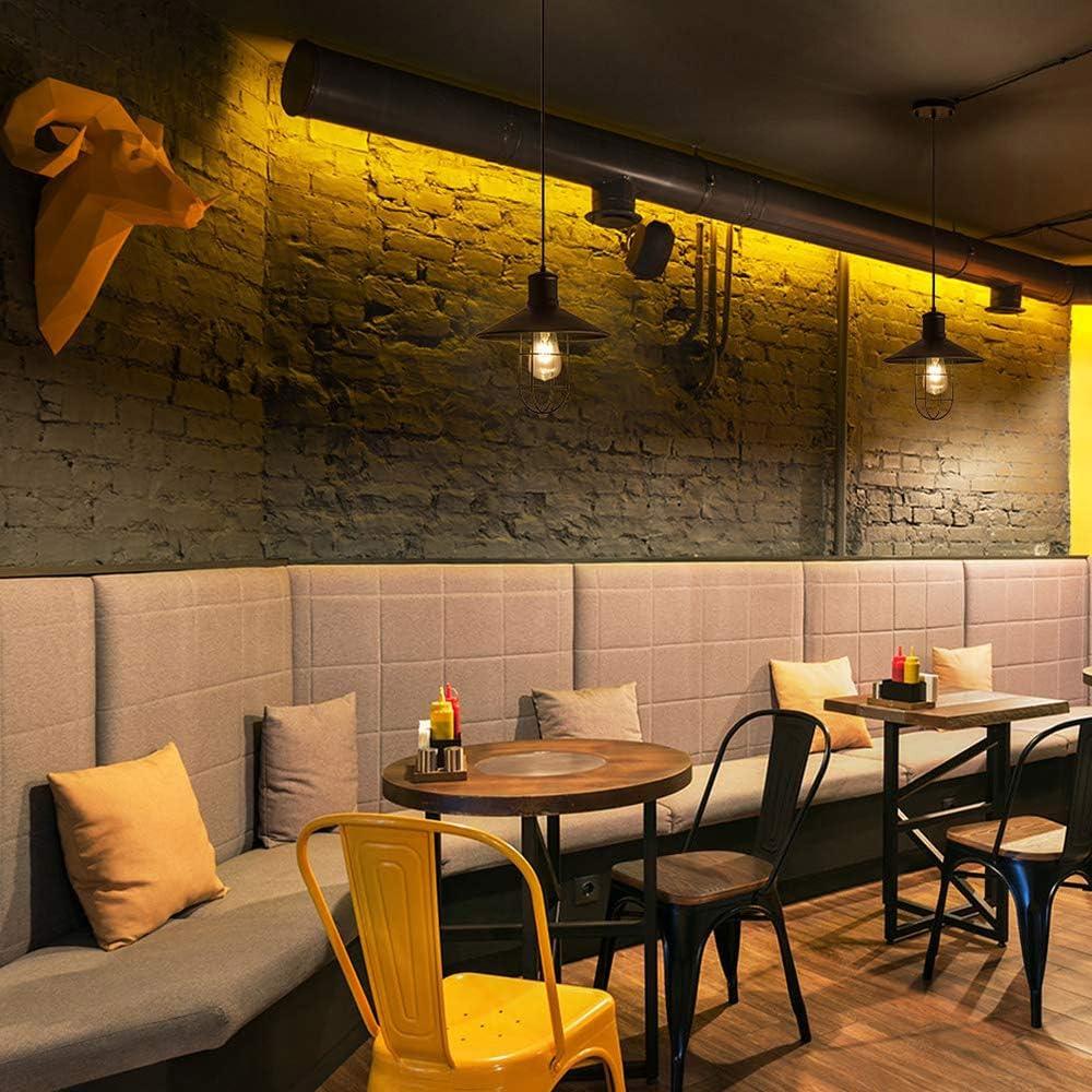 Hotel SUNJULY Vintage H/ängeleuchte Industrial Glaspendelleuchte Anti-rust Veranda und Bar f/ür Wohnzimmer LED Retro Kronleuchter Schlafzimmer Arbeitszimmer Mattschwarzer