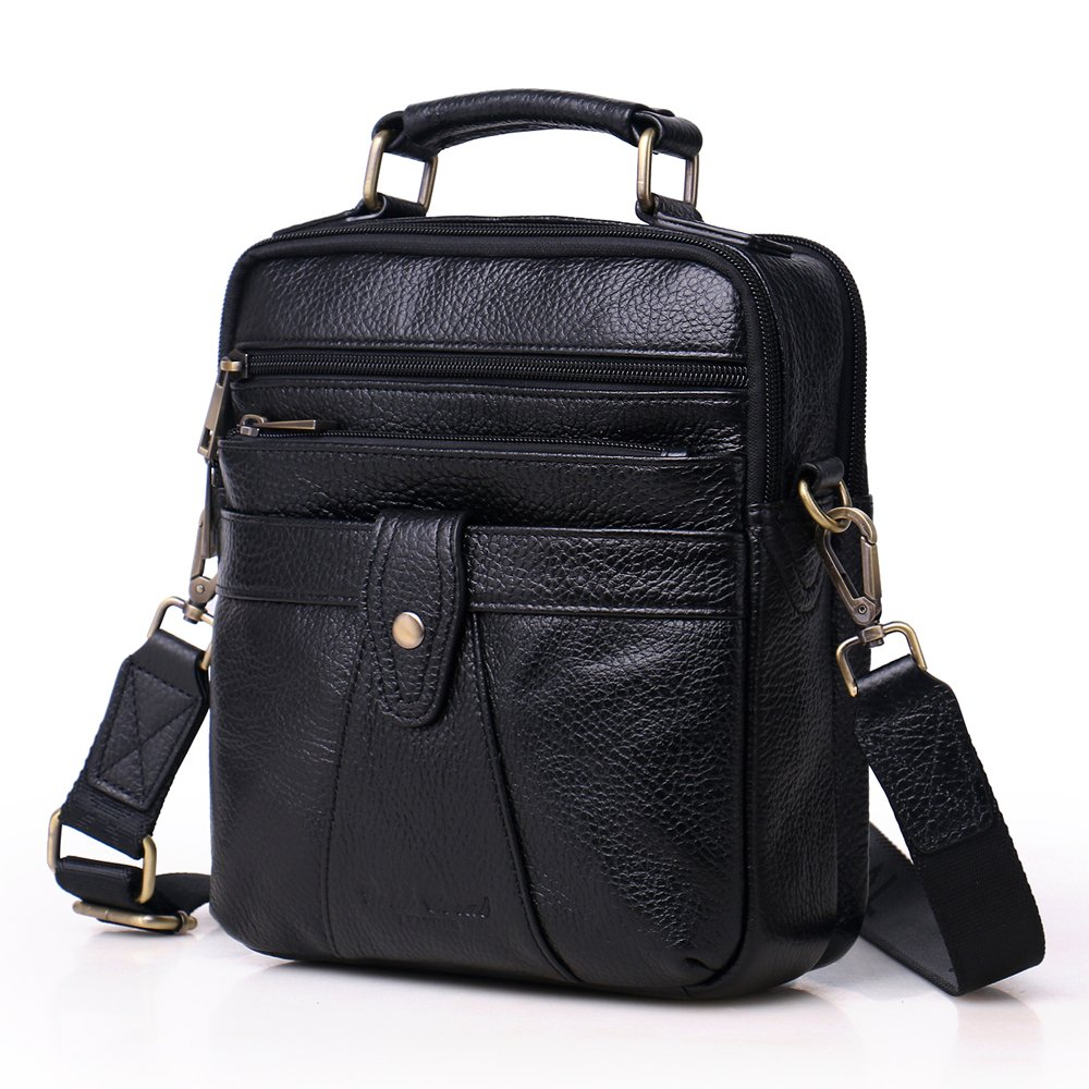 Langzu Handmade Mens Leather Messenger Shoulder Bag Ipad Bag Handbag (black-6013)