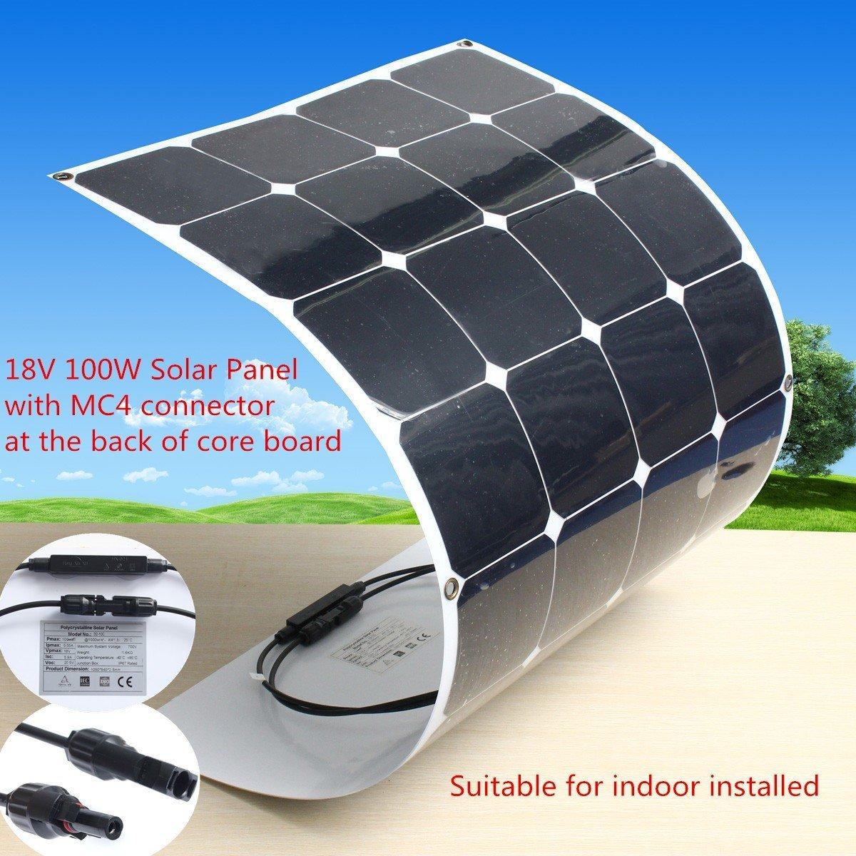 Mohoo 100W 18V Monokristalline Solarpanel Energie Semi Flexible Wasserdicht Ladegerät Panel-Abenteuer Auto RV Boot + 1,5 m Kabel