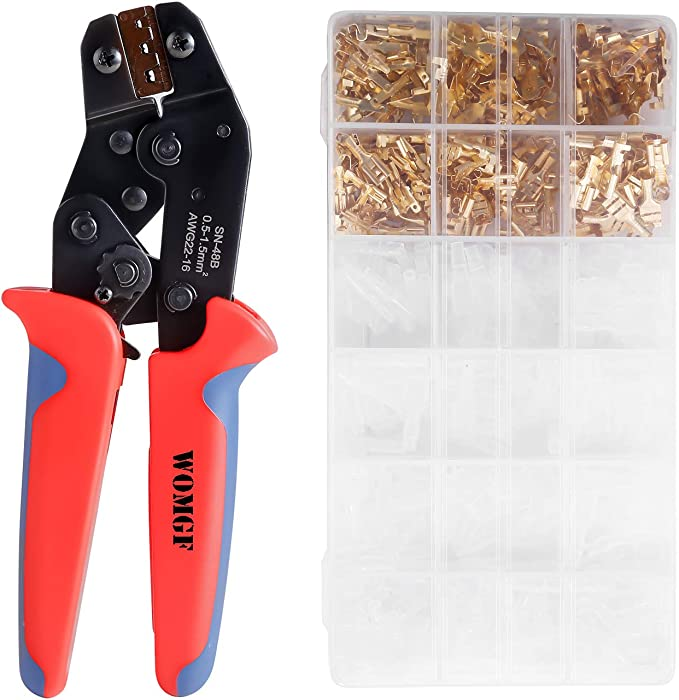 AWG 22-16 Estmoon Crimpzange Flachsteckh/ülsen Set mit Schutzh/üllen Crimpwerkzeug mit 500 st/ück Kabelstecker 0,5-1,5 mm/²