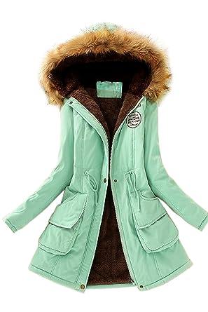 Babyonline® Damen Winterparka Damenjacke Parka Fellkapuze Mantel  Fleecejacket Trenchcoat Oberbekleidung Jacken Mit Kapuze f025408bb8