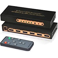 4K@60Hz HDMI Switch 5 Port Awakelion Premium 5 in 1 Out 4K HDMI Switcher with IR Remote Support Auto-Switch, HDMI 2.0…