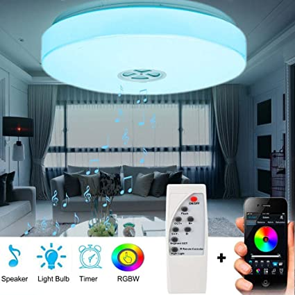 Led ceiling light with bluetooth speaker music sync rgbw colour changing 24w app remote