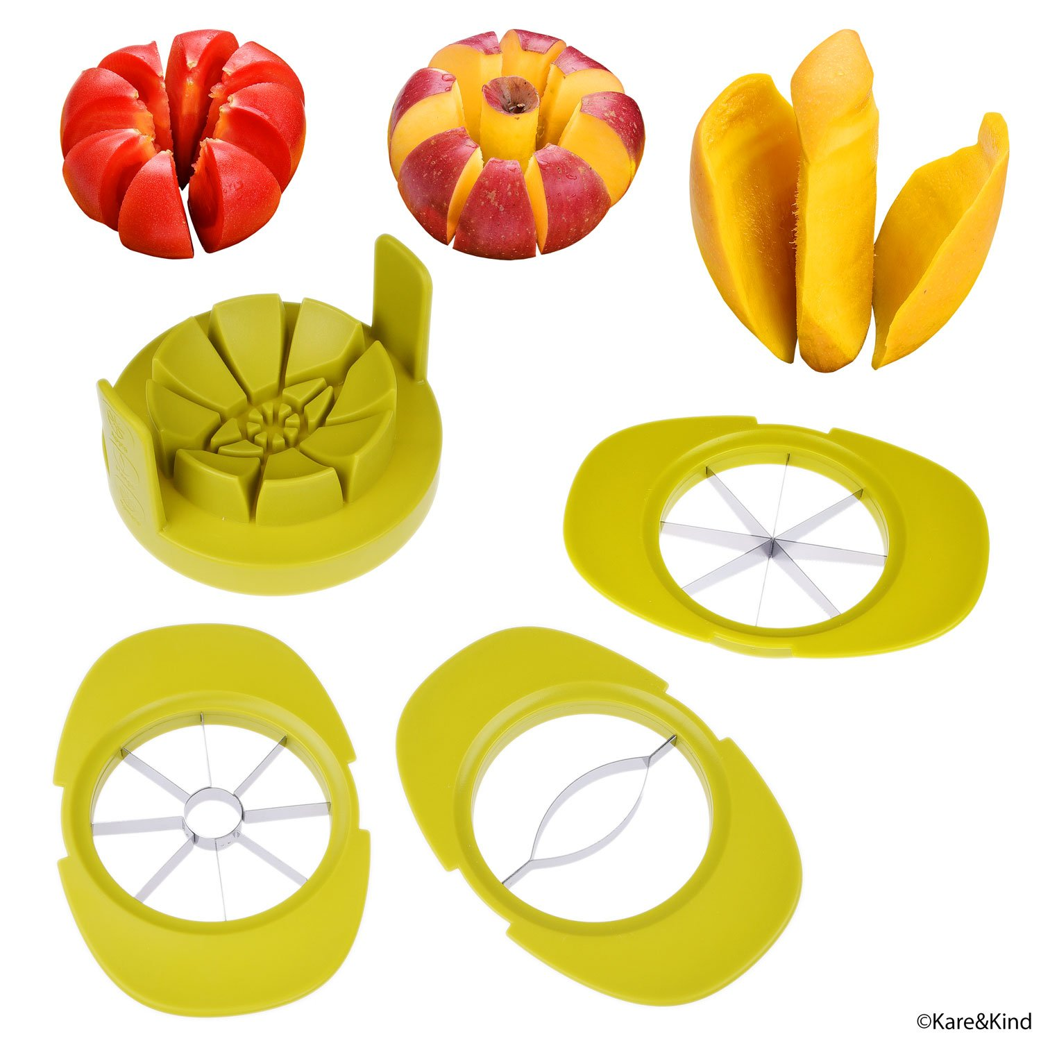 Apple/Tomato/Mango Cutters - Set of 3 - Sturdy Base keeps Fruit/Vegetable in Place - Also keeps Cutters Organized - Razor Sharp Stainless Steel Saw Blades - Quick - Easy Kare & Kind