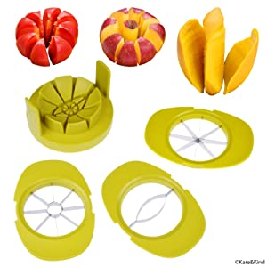 Apple/Tomato/Mango Cutters - Set of 3 - Sturdy Base keeps Fruit/Vegetable in Place - Also keeps Cutters Organized - Razor Sharp Stainless Steel Saw Blades - Quick - Easy
