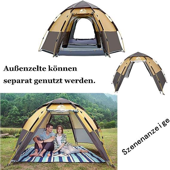 HEWOLF Pop Up Zelt Familienzelt Camping Zelt Tunnelzelt F/ür 2-3 Personen Vollautomatisch//Sonnenschutz//Anti-Lichtregen