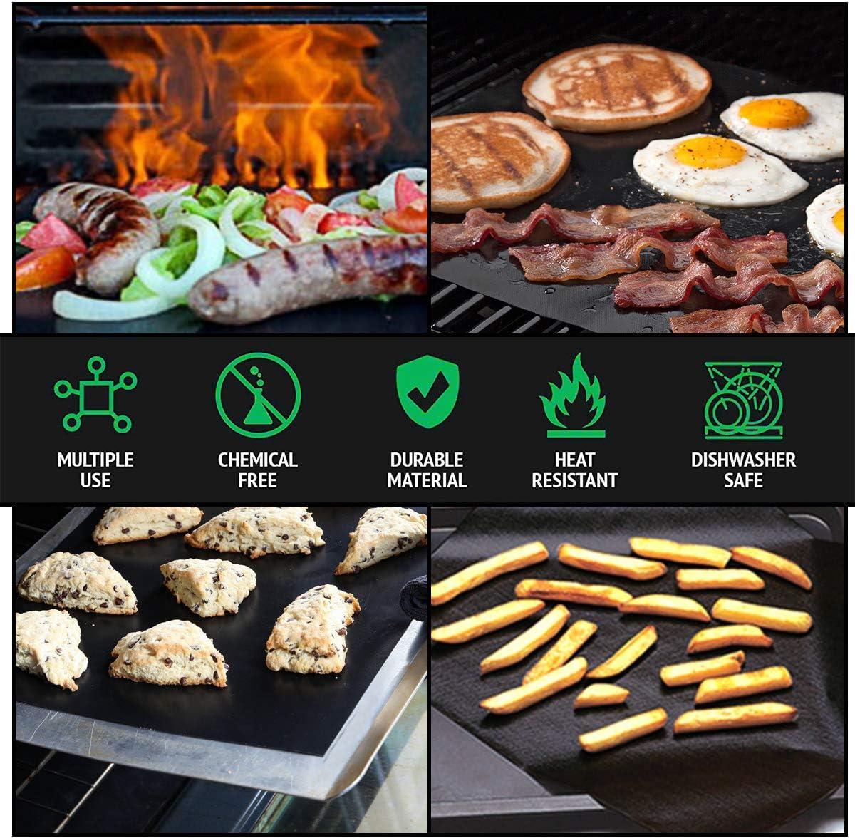 FDA Zugelassen PFOA Frei flintronic BBQ Grillmatte Grillmatten f/ür Gasgrill Grillzange Grillen und Backen Wiederverwendbar 100/% Antihaft Grill-und Backmatte 1 Silikonb/ürste inklusive