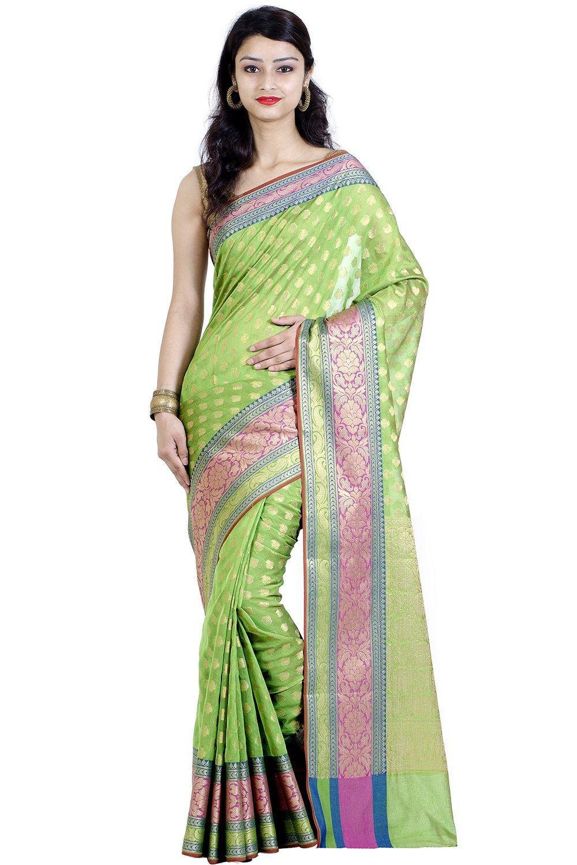 Chandrakala Green Banarasi Cotton Silk Saree