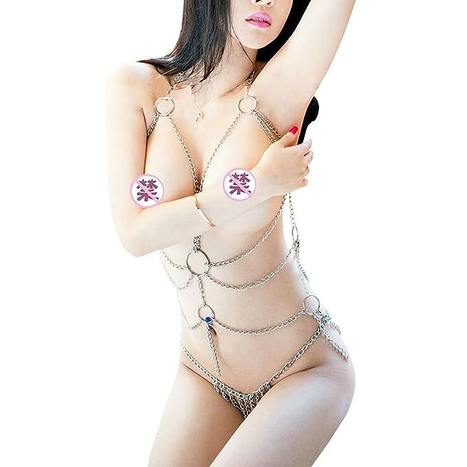 Dorhea Mujeres Lencería Señoras Body Sexy Conjuntos de Ropa Interior Copa Abierta Perspectiva Arnés Cadena de