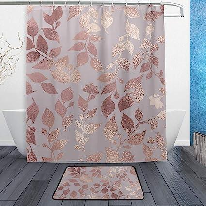 Amazon Com Wamika Rose Gold Marble Floral Bath Shower Curtain