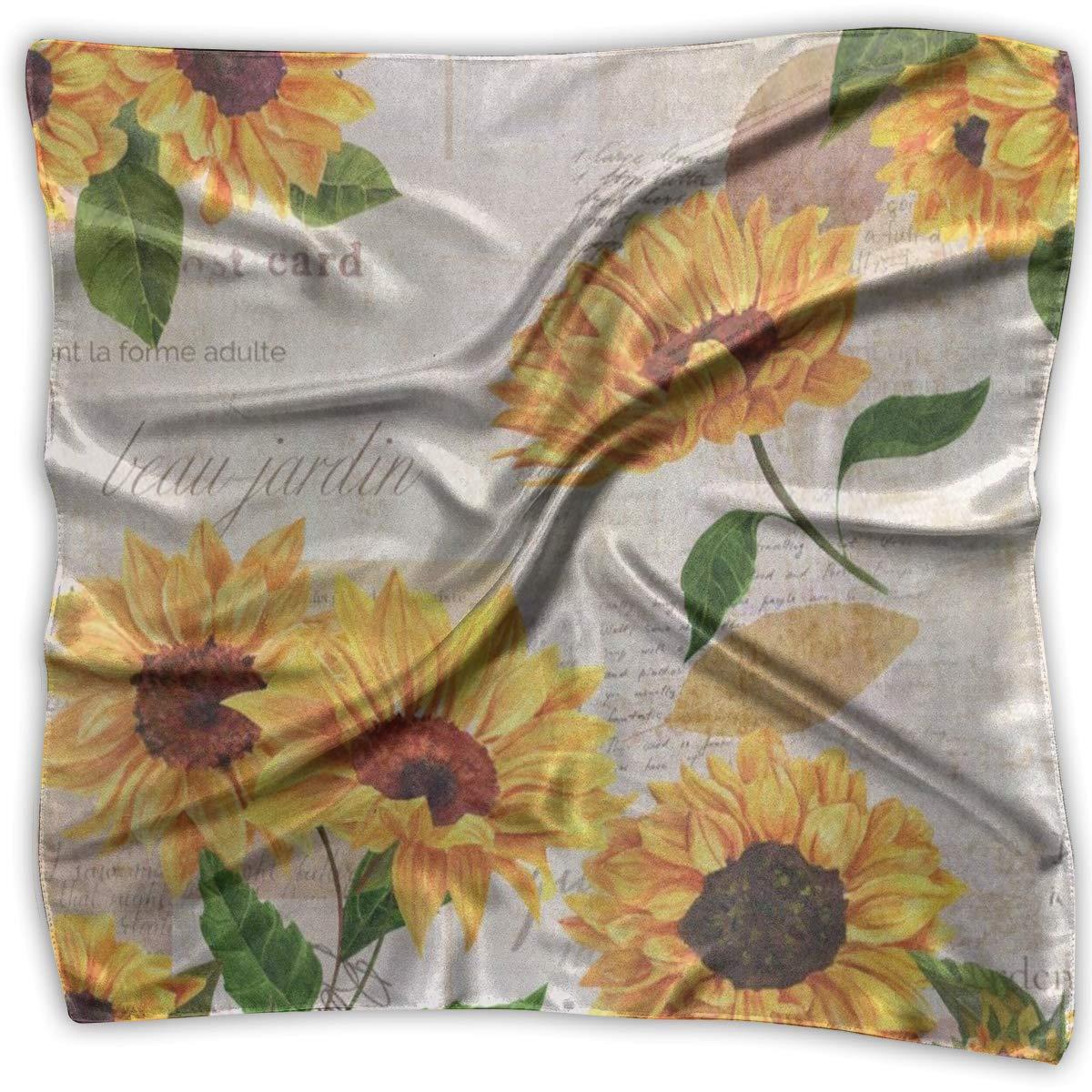 Square Scarf Vintage Sunflower Muffler Unisex Muffler Tie For Man