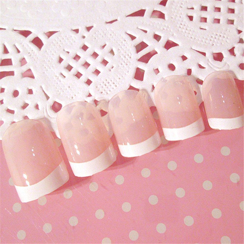 COCOPOP - 24 uñas postizas de acrílico de diferentes tamaños, diseño francés, para manicura y uñas postizas: Amazon.es: Hogar