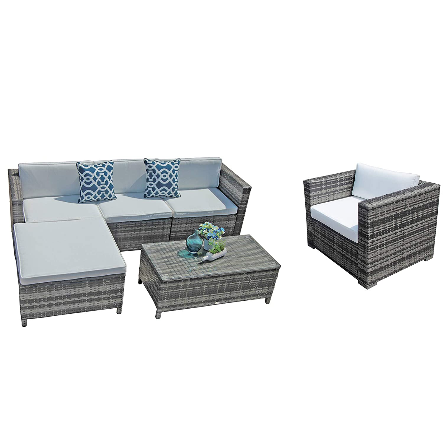 Patiorama Outdoor Sectional Furniture,6 Piece Patio Sectional Sofa Set with Grey Wicker White Cushions,Four Blue Throw Pillows