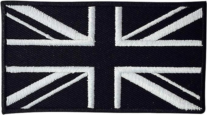 Parche Bordado con la Bandera del Reino Unido de Color Negro para Coser en la Insignia de la Bandera Británica: Amazon.es: Hogar