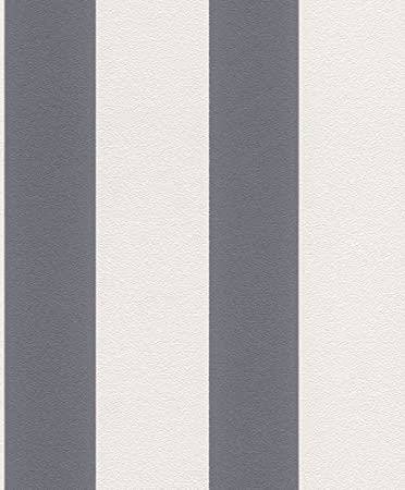 Vliestapete Streifen Gestreift Weis Grau Tapete Rasch Prego