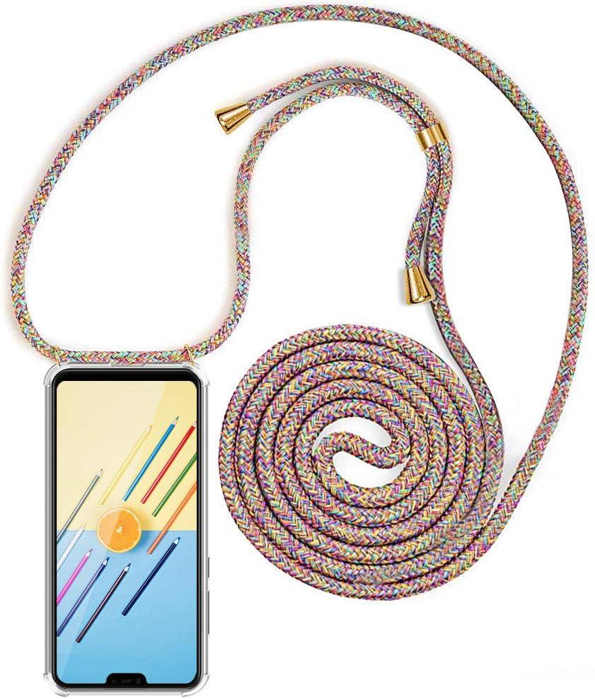 XCYYOO Funda Transparente con Cordón para Xiaomi Mi 8 Lite 【Versión Popular 2019】 Carcasa de movil con Cuerda para Colgar y Esquinas Reforzadas en Silicona TPU - Case y Correa