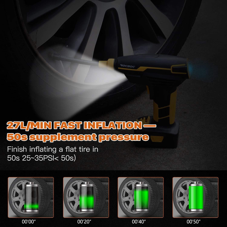 Rocboc Gonfiatore per Pneumatici A Batteria Pompa per Pneumatici Portatile per Auto Manometro e Gonfiatore per Pneumatici Elettrici Con Schermo Digitale Luci A Led