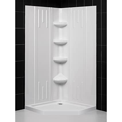 32 Inch Neo Angle Shower Base.Dreamline 36 In X 36 In X 75 5 8 In H Neo Angle Shower Base And Qwall 2 Acrylic Corner Backwall Kit In White Dl 6040c 01