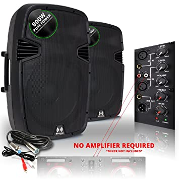 speakers cables. 2x ekho rs15a active speakers + cables 1600w