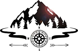 Large Vinyl Wall Decal Mountains Compass Camping Forest Camp Decor Art Stickers Mural (ig5651)
