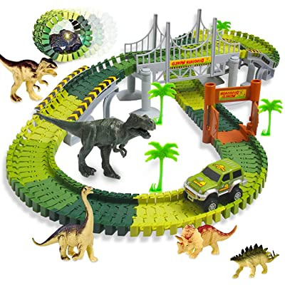 Aokesi Dinosaur Toys Tracks Car Boy Gifts,206 Pieces Dinosaur Train Track Play Set with 2 Pack Dinosaur Car: Toys & Games