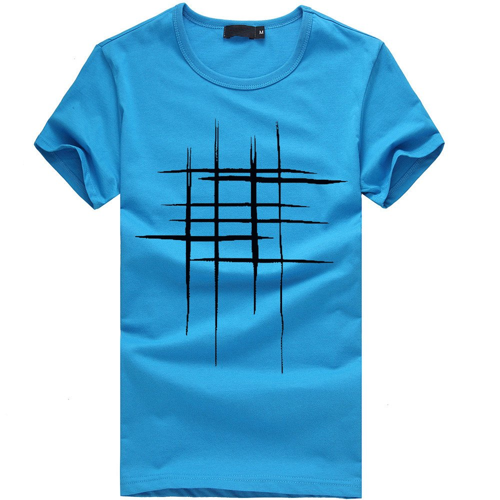 Sunmoot T Shirt for Men Boys Casual Printed Slim Fit Short Sleeve Top Spring Summer Blouse Blue