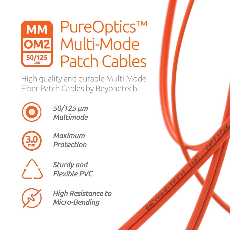 2m LC to SC Fiber Patch Cable Multimode Duplex 6.56ft Beyondtech PureOptics Cable Series LYSB00SVYE3F0-CMPTRACCS - 50//125um OM2