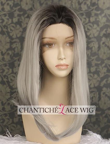 chantiche Natural lookinng recto corto Bob negro cabeza completa peluca Ombre gris plata Lace Front Peluca