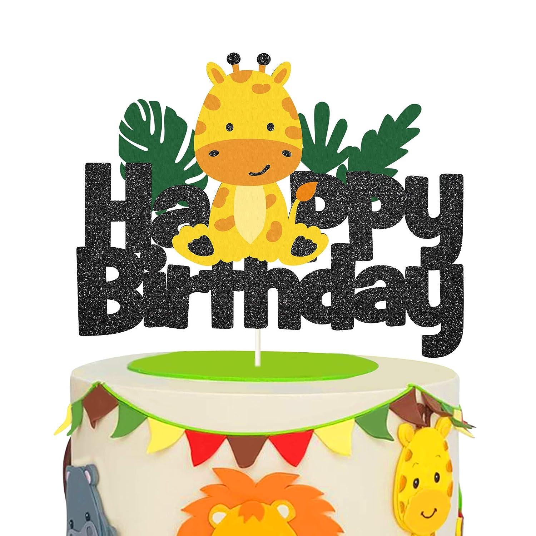 Glitter Giraffe Happy Birthday Cake Topper,Safari Jungle Animal Themed Cake Decor for Baby Shower or Kids Birthday Party Decor Supplies
