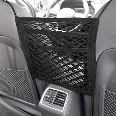 DEDC Super Duty 2-Layer Universal Car Seat Net Organizer, Mesh Cargo Net Pouch Driver Storage Netting Pouch for Purse Phone Pets Dogs Kids Disturb Stopper: Home Improvement